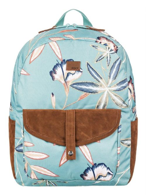 ROXY WOMENS BACKPACK BAG.CARRIBEAN FLOWER GREEN RUCKSACK.SCHOOL 18L 8W 734 BKW6